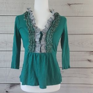 Deletta by Anthro• S top 3/4 sleeve ruffles green